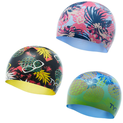 561990cc43f These sweet pineapple silicone swim caps from TYR are available at  SwimOutlet.com.